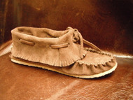 Women's Laurentian Chief Brown Fringed Suede Moccasin