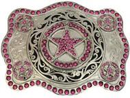 Montana Silversmiths Pink Zirconia Stars Attitude Buckle