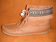 Women's Laurentian Chief Cork Moose Hide Fringed Moccasin