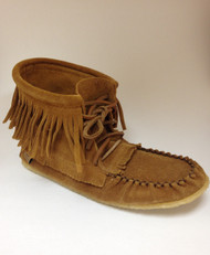 Women's Laurentian Chief Dark Tan Fringed Moccasin