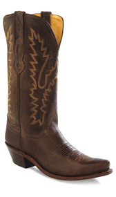 Women's Old West Brown Snip Toe Cowboy Boot