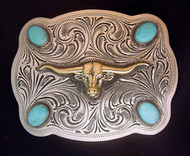 Hand Engraved Nickel and Brass with Turquoise Belt Buckle