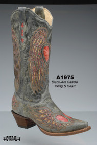 Women's Corral Black Saddle Winged Heart Cowboy Boot