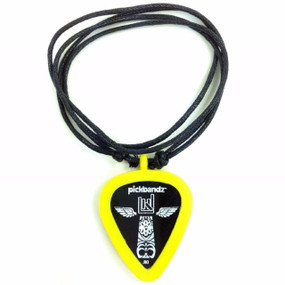 Pickbandz Necklace With Silicone Pick Holder Pendant, Mellow Yellow (PBN-YE)