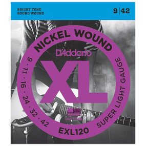 D'Addario EXL120 Electric Guitar Strings, Super Light (EXL120)