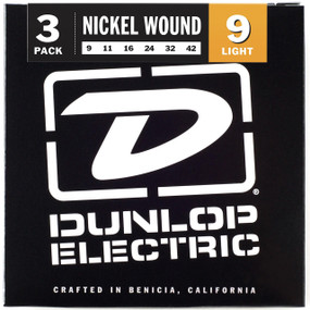 Dunlop DEN0942 Nickel Wound Electric Guitar Strings, 3 Sets of Strings, .009-.042