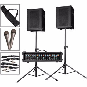 Kona KPA1 100W 4-Channel PA System with Mics, Cables and Stands (KPA1)