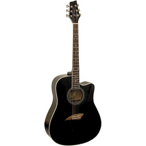 Kona K1 Dreadnought Cutaway Acoustic Guitar, Black (K1BK)