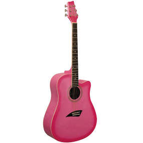 Kona K1 Dreadnought Cutaway Acoustic Guitar, Pink Burst (K1PNK)