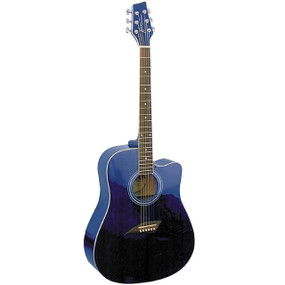 Kona K1 Dreadnought Cutaway Acoustic Guitar, Transparent Blue (K1TBL)