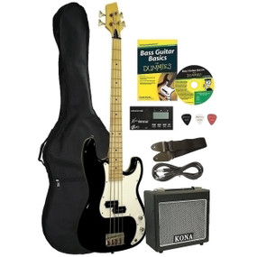 Kona Deluxe 4 String Bass Guitar Starter Pack for Dummies (KBFDPK)