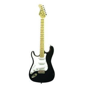 Main Street MEDCBKL Left Handed Strat Style Double Cutaway Electric Guitar, Black (MEDCBKL)