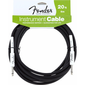 Fender FG20 Performance Series 20' Black Straight Guitar Cable, 099-0820-048