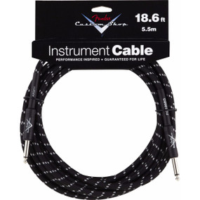 Fender FG186BS Custom Shop Performance Series Straight 18.6' Black Tweed Guitar Cable, 099-0820-037
