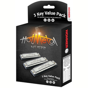Hohner 3P572BX Hot Metal 3 Harmonica Value Pack