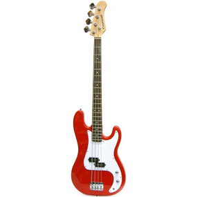Crestwood PB970R 4-String Electric Bass Guitar, Metallic Red