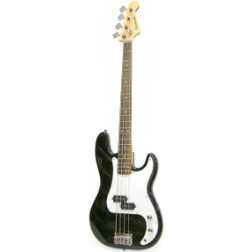 Crestwood PB970B 4-String Electric Bass Guitar, Black