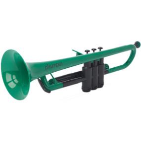pBone PTRUMPET1G Plastic Bb Trumpet with Gig Bag, Green
