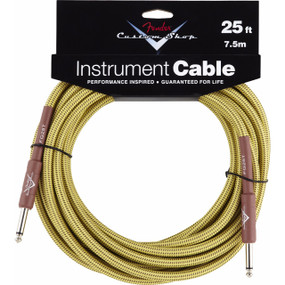 Fender FG25T Custom Shop Performance Series 25' Tweed Instrument Cable, 099-0820-032