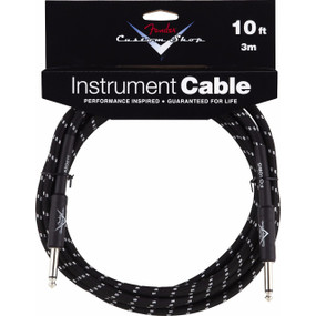 Fender FG10BS Custom Shop Performance Series 10' Black Tweed Instrument Cable, 099-0820-035