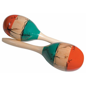 GP Percussion MMAR Pair of Tri-Color Wooden Mexican-Style Maracas