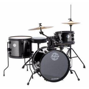 Ludwig LC178X016 Pocket Kit 4 Piece Drum Set by Questlove, Black Sparkle Finish