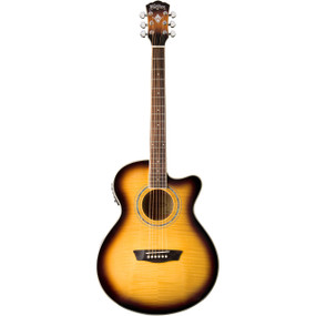 Washburn EA15ATB Mini Jumbo Acoustic-Electric Guitar, Tobacco Sunburst