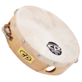 Latin Percussion CP376 Wood Tambourine Single Row Jingles With Head