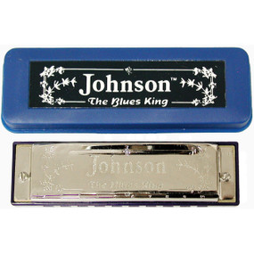 Johnson BK-520-B Blues King Harmonica, Key of B - Single Harp with Case