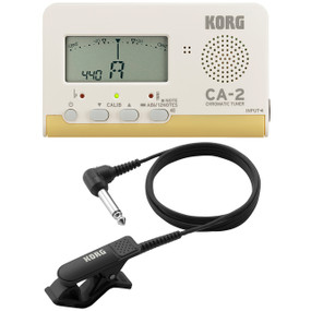 Korg CA-2 Instrument Tuner Bundle w/ Clip-On Contact Microphone, CA2+CM200BK