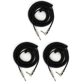 Perfektion Black Heavy Duty Vintage 20FT Coiled Guitar Instrument Cable - 3 PACK