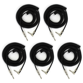 ZoZo Coiled Guitar Cable, 20' Foot Right Angle/Straight Instrument Cable - 5 PACK