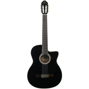 Washburn C5CEB Nylon String Classical Acoustic Electric Guitar, Black