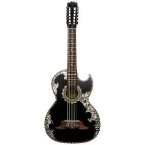 Paracho Elite Belleza Solid Cedar Top 12-String Bajo Sexto Guitar, Black