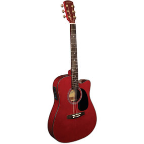 Indiana I-TB2RD Thin Body Acoustic Electric Guitar, Classic Red