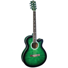 Indiana Madison MAD-QTGR Deluxe Quilt Top Acoustic Electric Guitar, Green