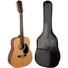 Indiana S-SCOUT-12 Scout Acoustic 12 String Guitar with Gig Bag, Natural