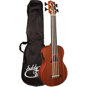 Eddy Finn EF-EBASS Acoustic Electric Bass Ukulele with Gig Bag, Natural
