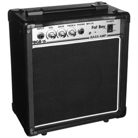 Fat Boy FBGB15 15-Watt Electric Bass Guitar Amplifier, Black