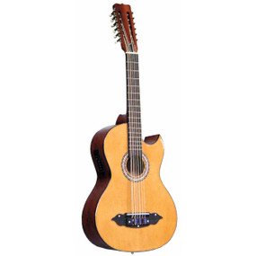 Lucida LG-BS1-E Mexican Bajo Sexto 12-String Acoustic Electric Guitar, Natural