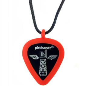 Pickbandz Necklace with Silicone Pick Holder Pendant, Fire Orange