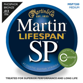Martin MSP7200 SP Lifespan 92/8 Phosphor Bronze Acoustic Strings, Medium