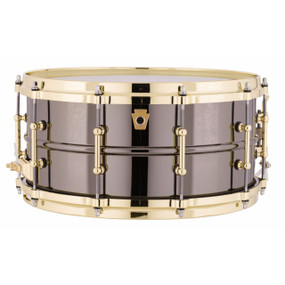 "Ludwig LB417BT Black Beauty 6.5""x 14"" Smooth Shell Snare Drum w/ Brass Trim"
