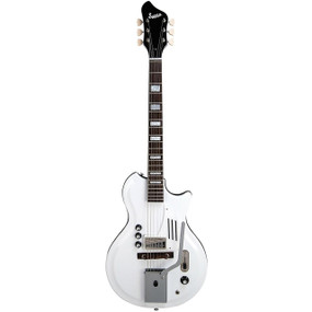 "Supro 1571VDW Semi-Hollow Body ""Acousti-Glass Top"" White Holiday Electric Guitar, Dawn White"
