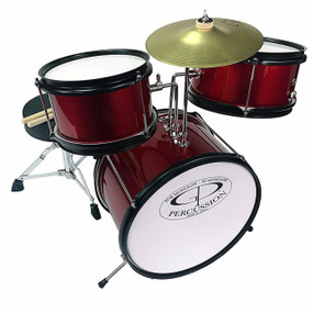 GP Percussion GP40 3-Piece Junior Drum Set, Wine Red