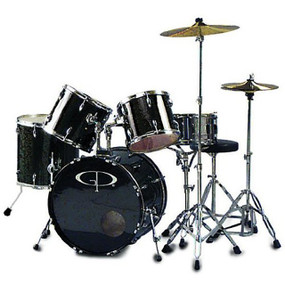 GP Percussion GP200 Performer 5-Piece Full Size Drum Set, Black