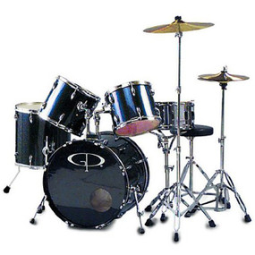 GP Percussion GP200 Performer Full Size 5-Piece Drum Set, Metallic Blue