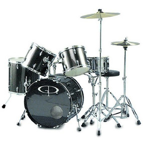 GP Percussion GP200 Performer Full Size 5-Piece Drum Set, Metallic Silver