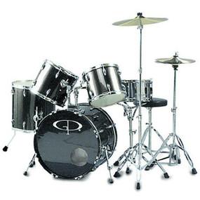 GP Percussion GP200 Performer Full Size 5-Piece Drum Set, Metallic Silver