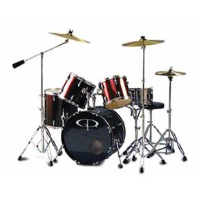 GP Percussion GP300 Studio 5-Piece Full Size Drum Set, Wine Red